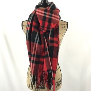 Wool Feel Red Black Plaid Fringe Rectangle Scarf